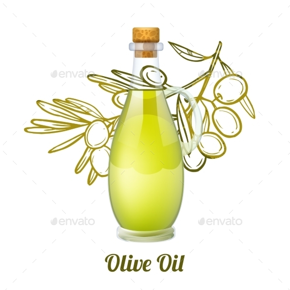 Olive Oil Sketch Concept - Food Objects