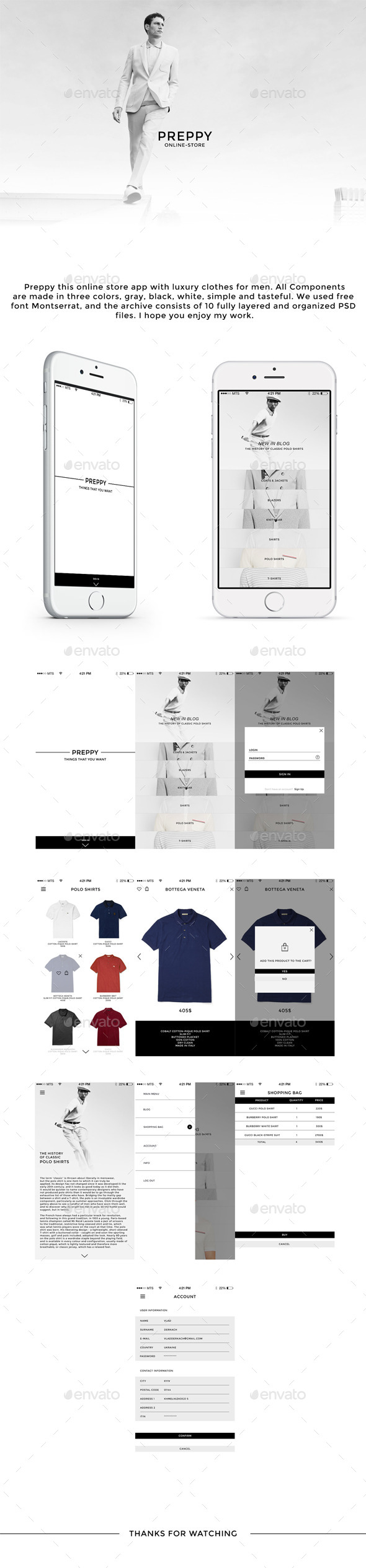 Preppy Online-store App - User Interfaces Web Elements