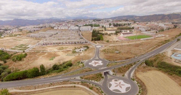 Aerial Flight Over Ronda Suburb In Andalucia