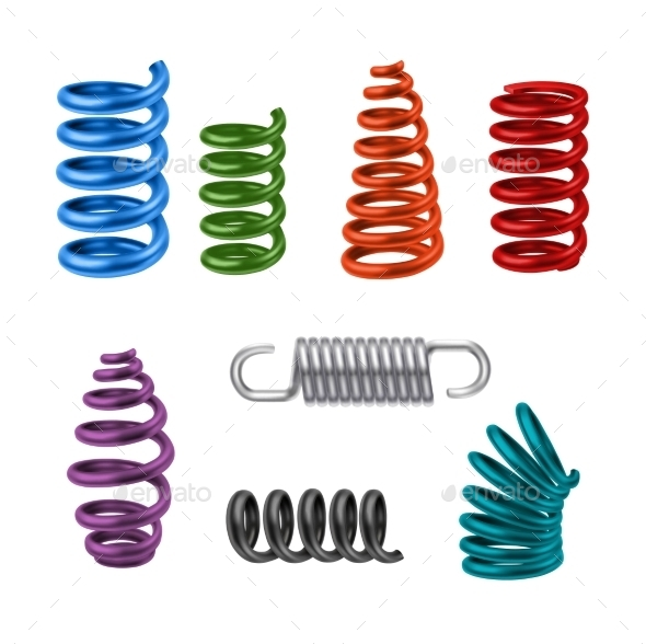 Realistic Metal Springs Colored - Man-made Objects Objects