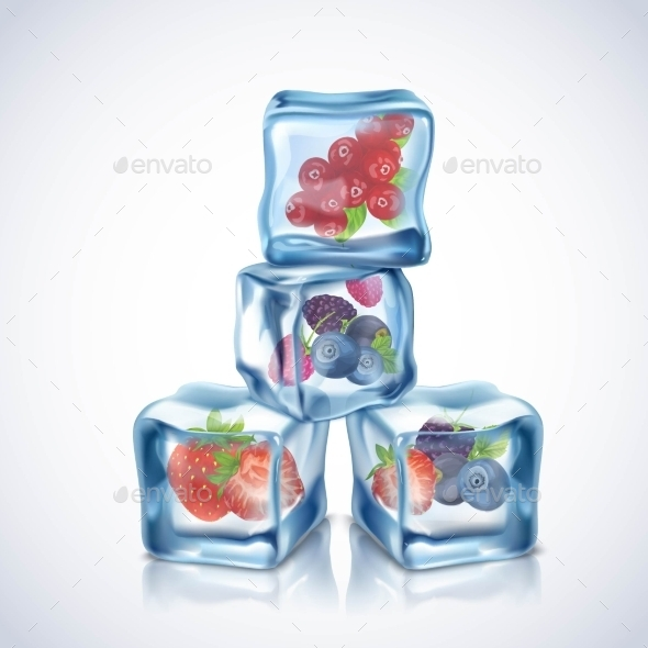 Ice Cubes with Berries - Flowers & Plants Nature