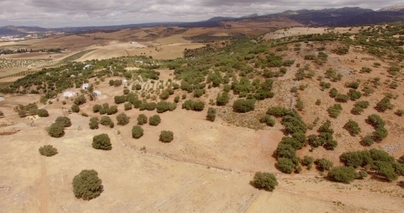 Aerial View From Flying Drone Spanish Mountains