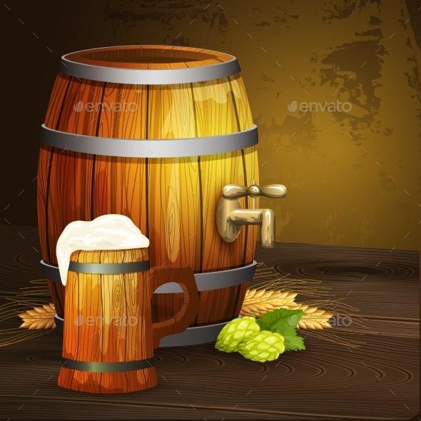 Beer Oak Mug Barrel Background Banner  - Backgrounds Decorative