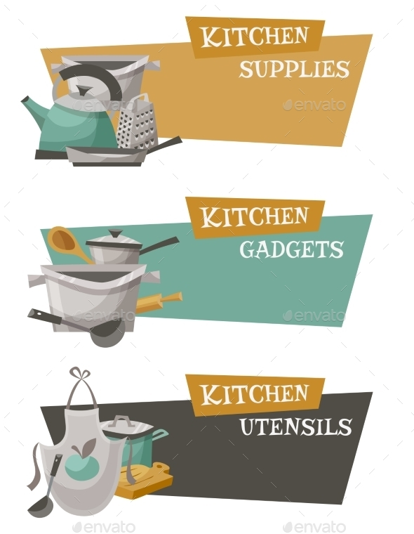 Kitchen Utensils Icons Set  - Man-made Objects Objects