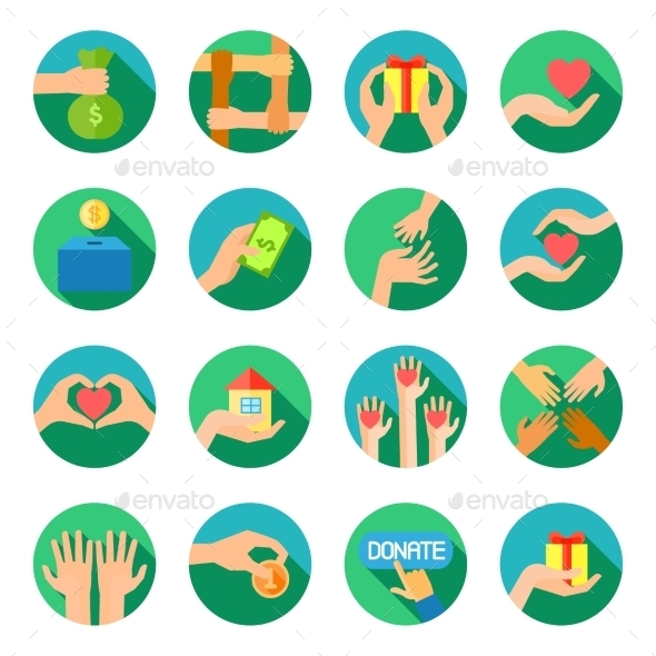 Long Hands Giving Flat Icons Set - Miscellaneous Icons