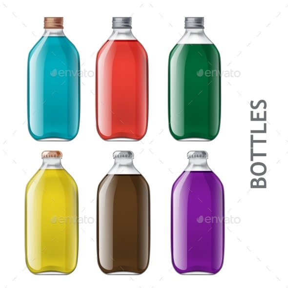 Set of Realistic Bottles - Man-made Objects Objects