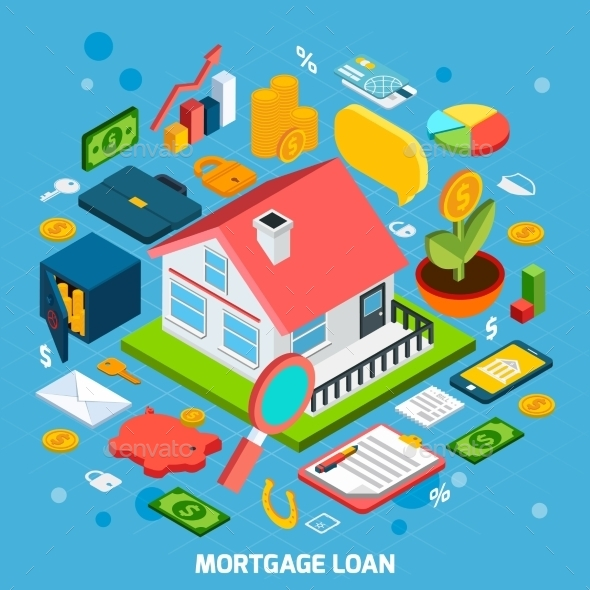 Mortgage Loan Concept - Buildings Objects