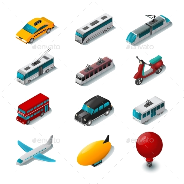 Public Transport Icons Set - Miscellaneous Vectors