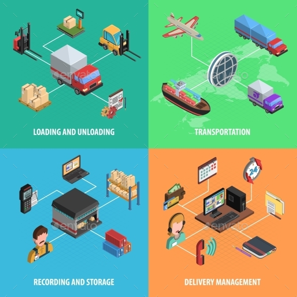 Delivery and Logistic Square Isometric Icon Set - Industries Business