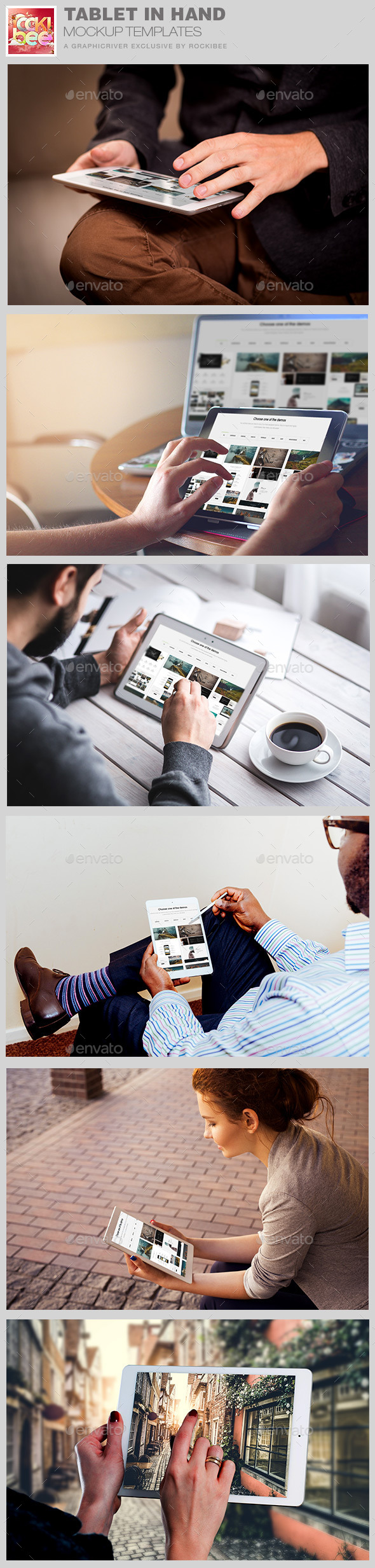 Tablet in Hand Mockup Template - Product Mock-Ups Graphics