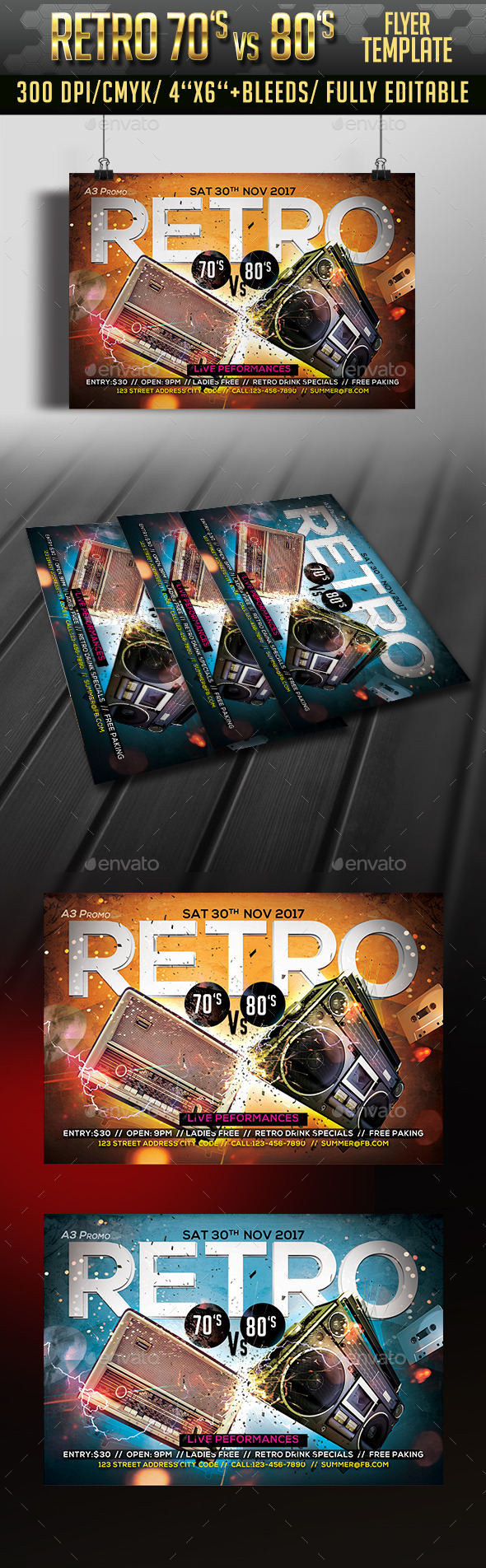 Retro 70's vs 80's Flyer - Clubs & Parties Events