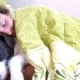 Sleepy Smiling Woman And Her Dog In The Bed - VideoHive Item for Sale