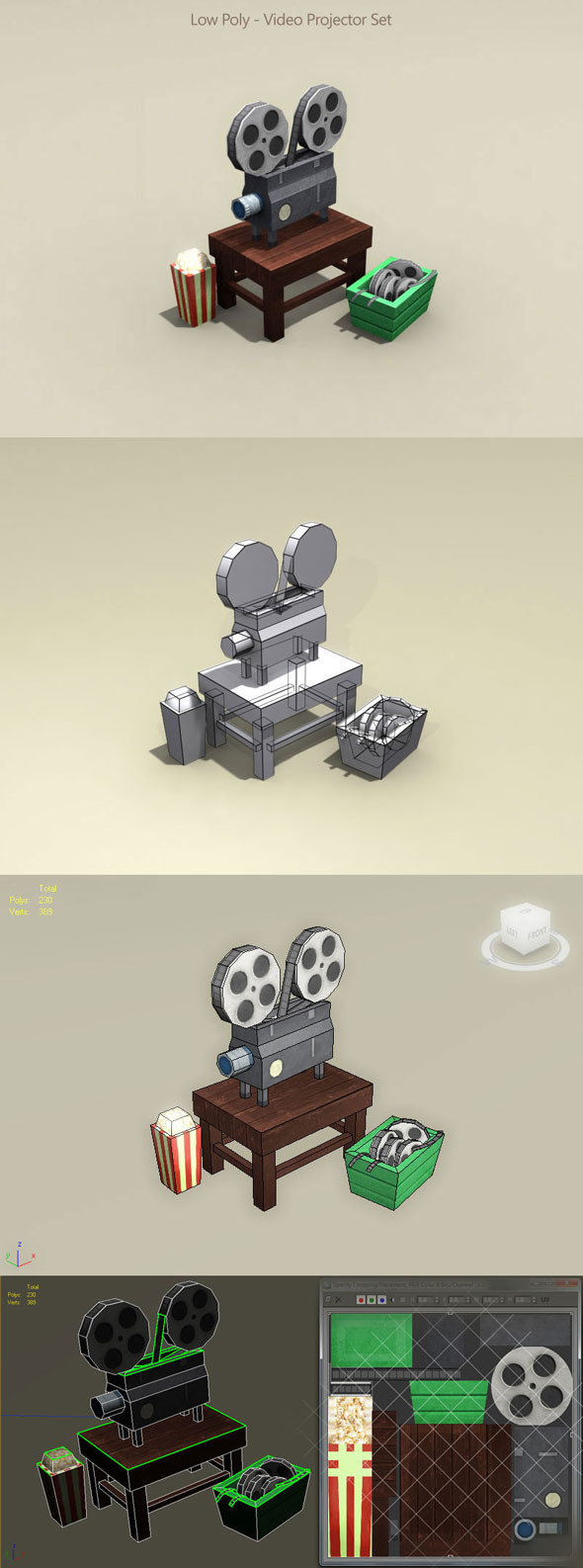 Low Poly Video Projector Set