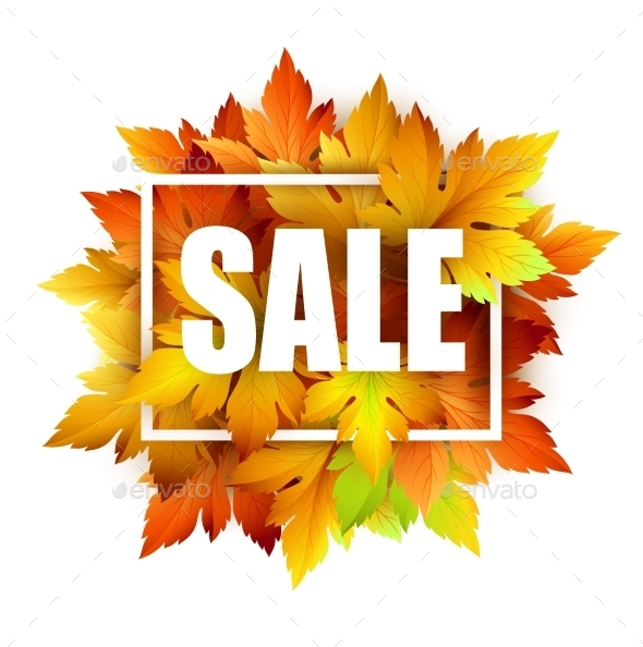 Autumn Typographic. Fall Leaf. Vector Illustration - Seasons Nature