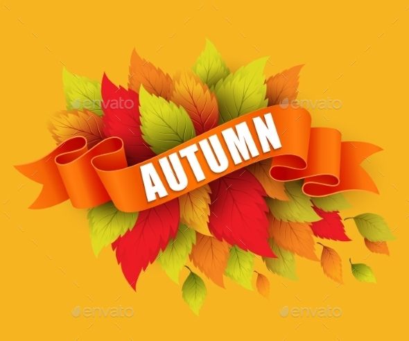 Fall Leave With Ribbon Banner. Vector - Seasons Nature