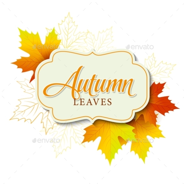 Autumn Typographic Fall Leaf Vector Illustration