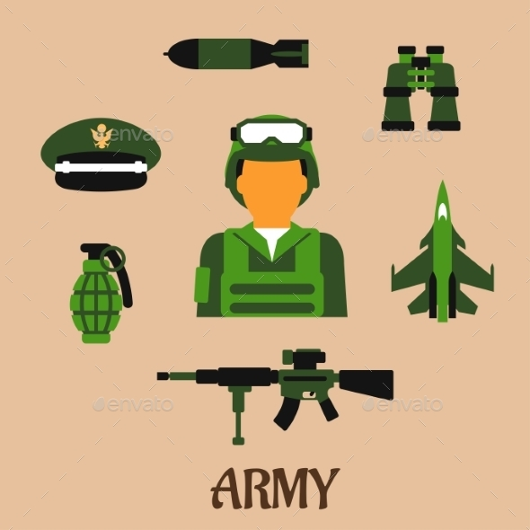 Army Soldier And Military Flat Icons