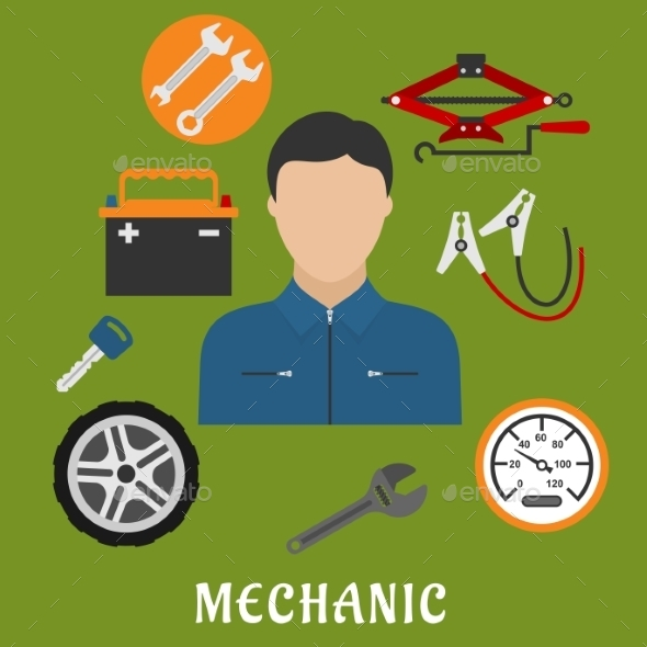 Mechanic Man And Car Details - Services Commercial / Shopping