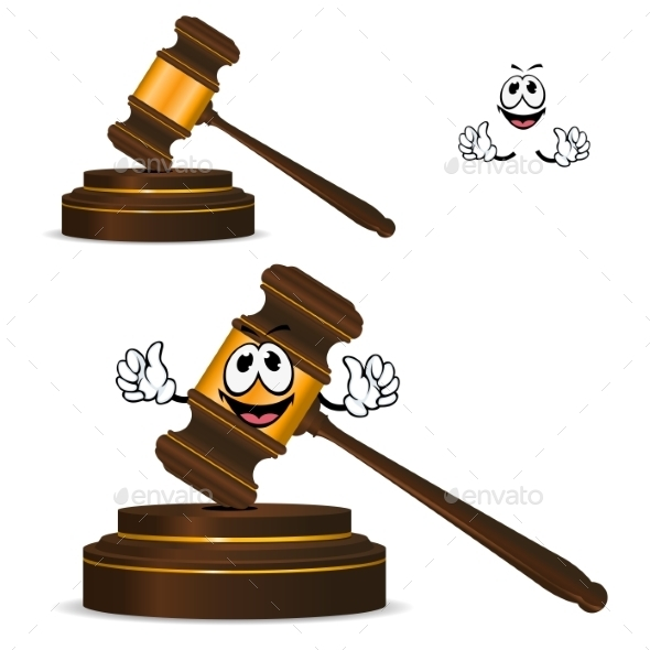 Cartoon Isolated Fun Wooden Gavel - Objects Vectors