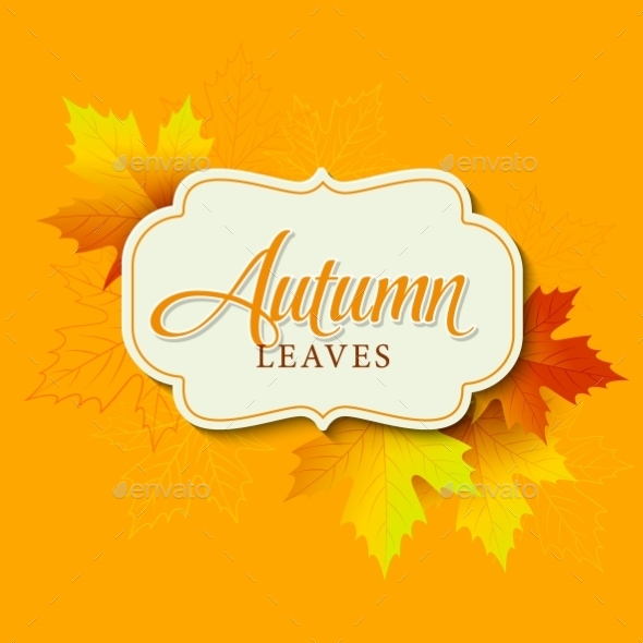 Autumn Typographic Fall Leaf Vector Illustration