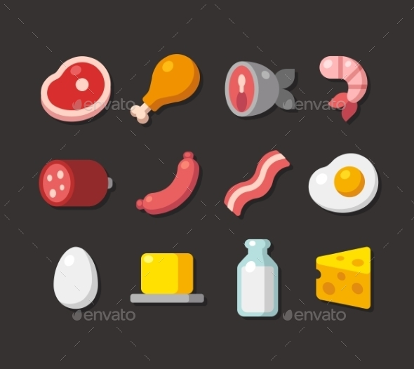 Meat And Dairy Flat Icons