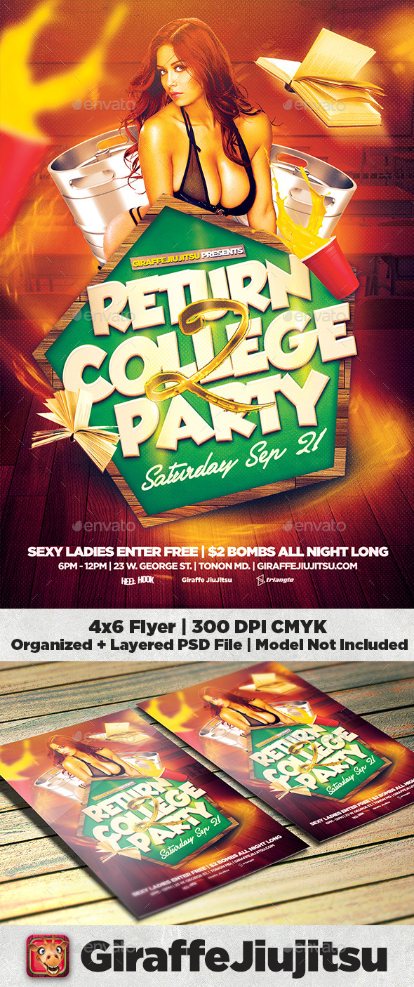 Return 2 College Flyer Template - Clubs & Parties Events