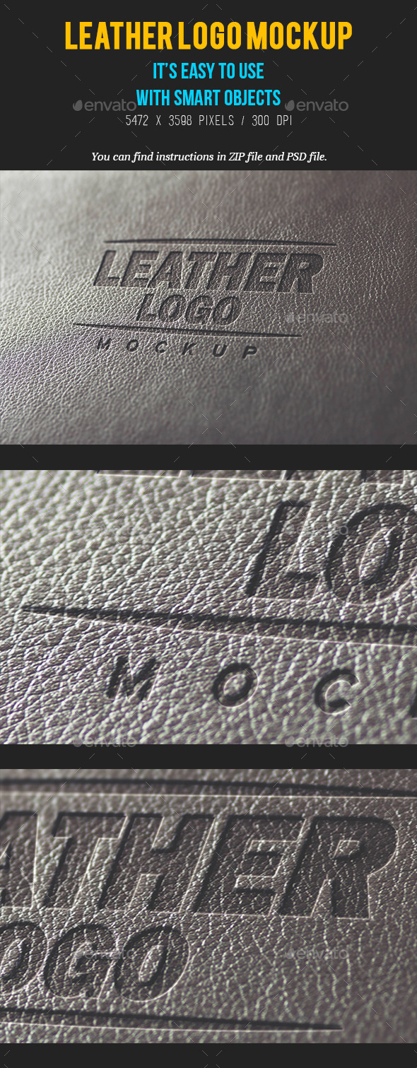 Photorealistic Leather Logo Mockup - Logo Product Mock-Ups