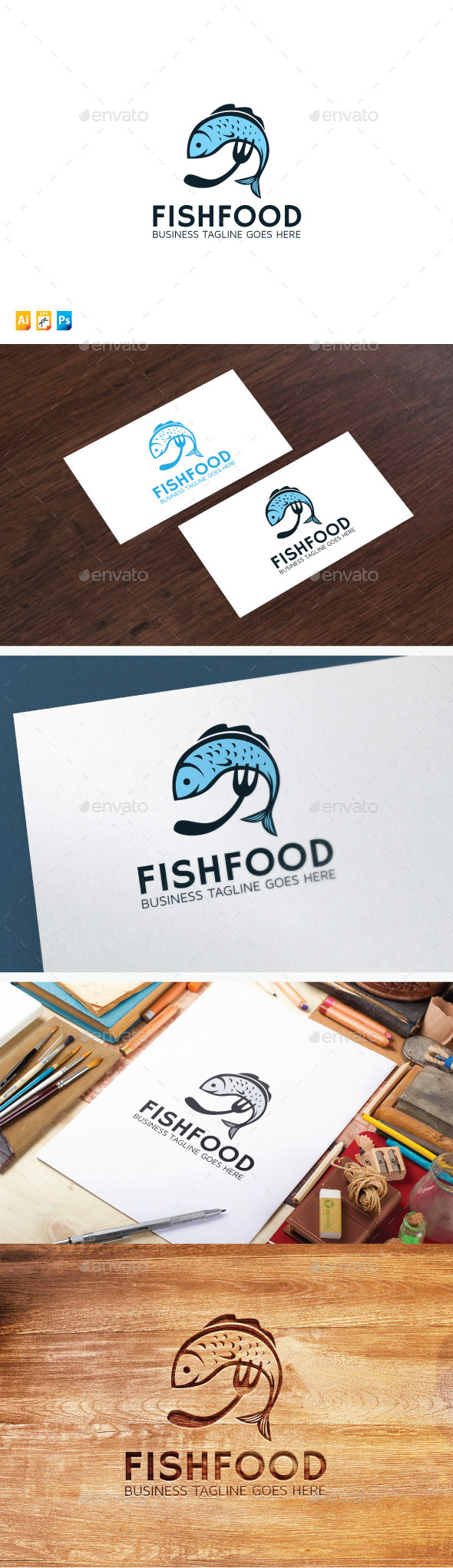 Fish Food Logo - Food Logo Templates