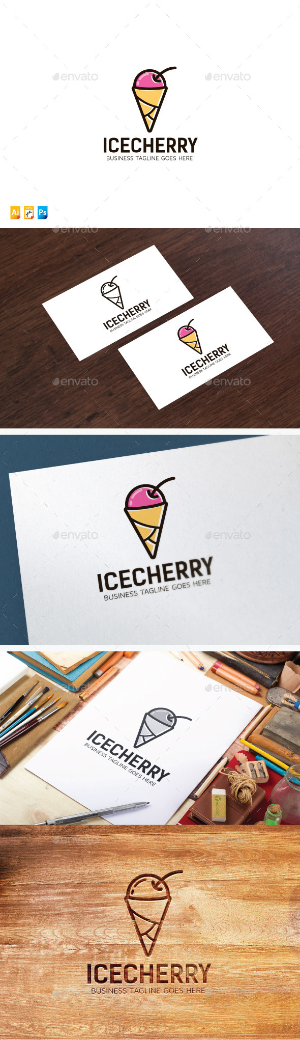 Ice Cherry - Food Logo Templates