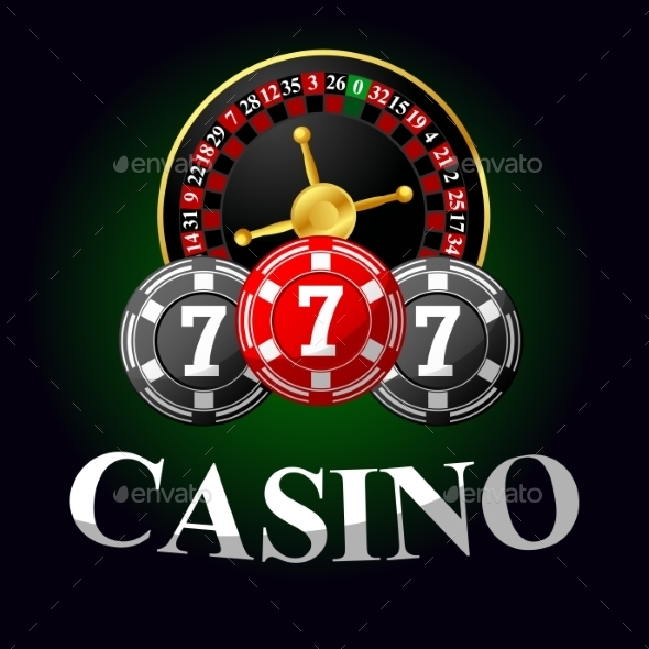 Gambling Icon With Chips And Roulette - Conceptual Vectors