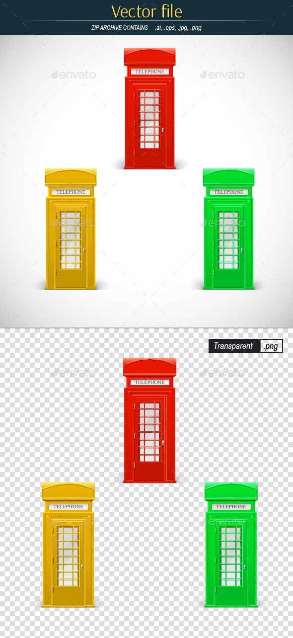 Classic Phone Booths - Objects Vectors