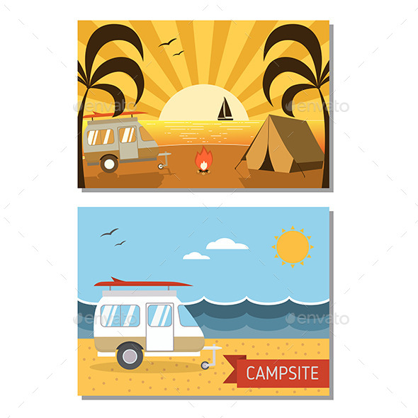 Couple of Beach Trailer Camping Landscapes - Travel Conceptual