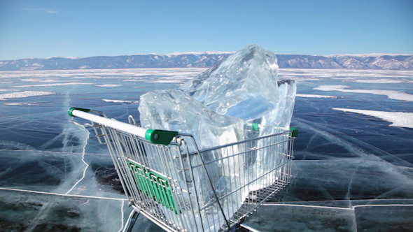 Shopping Cart With Ice Cubes 3395