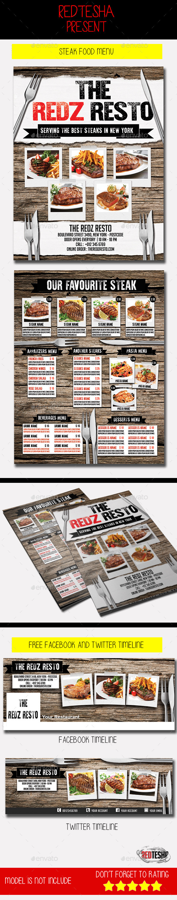 Steak Food Menu - Food Menus Print Templates