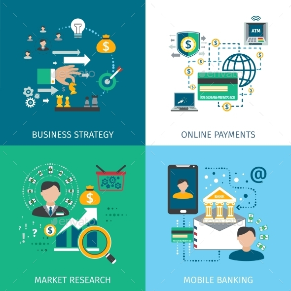 Banking Marketing Icons Set  - Concepts Business