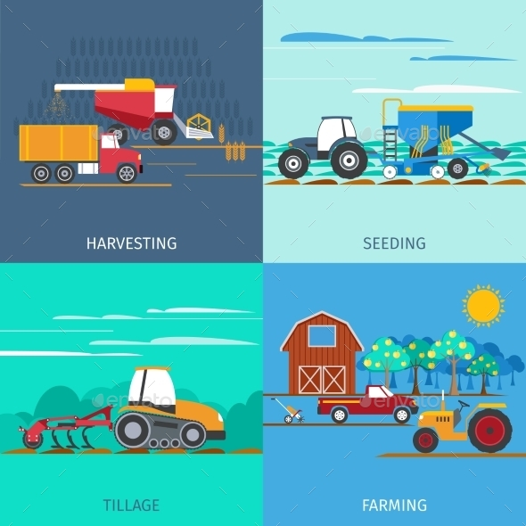 Farming Machines Icons Set  - Man-made Objects Objects