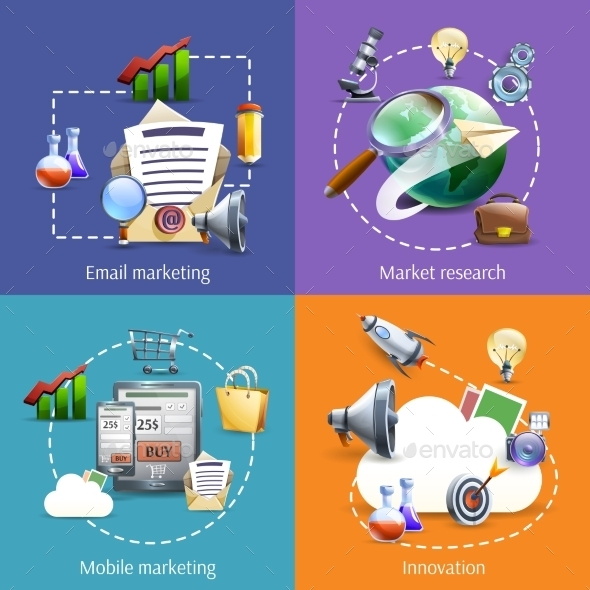 Digital Marketing 4 Flat Icons Square - Concepts Business