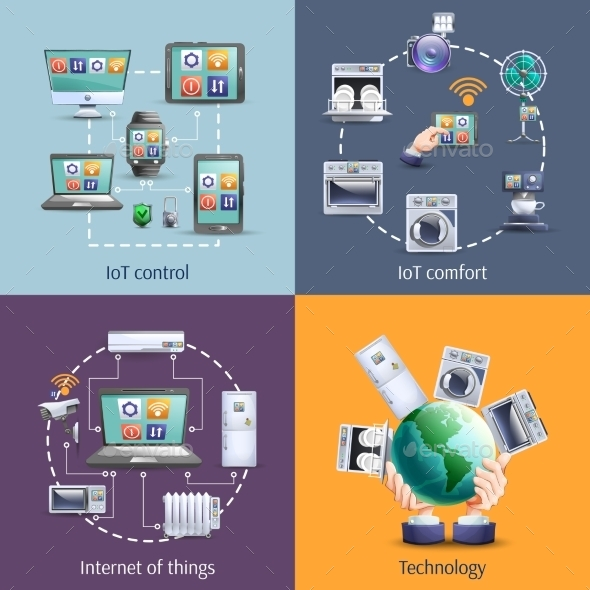 Internet Of Things 4 Flat Icons - Technology Conceptual