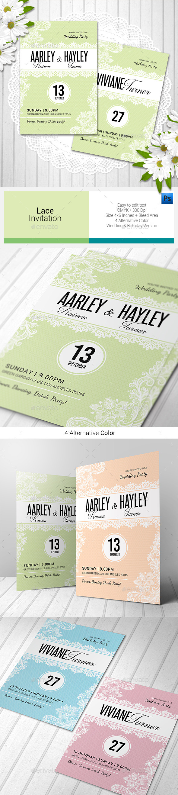 Lace Invitation - Invitations Cards & Invites