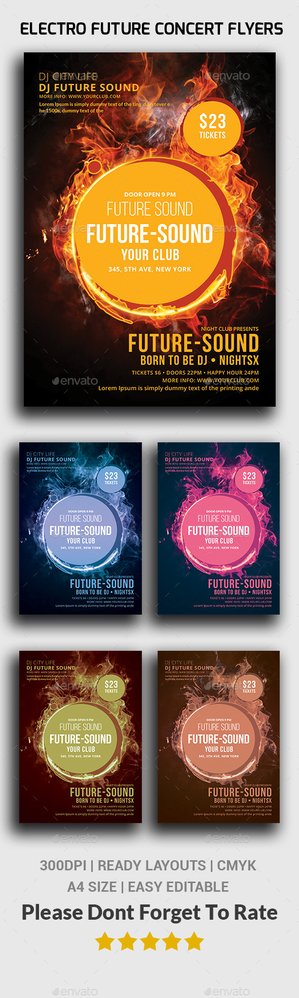 Electro Future Concert Flyers - Events Flyers