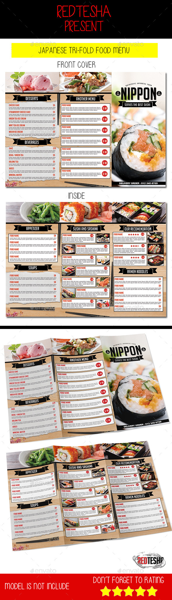 Japanese Tri-fold Menu - Food Menus Print Templates