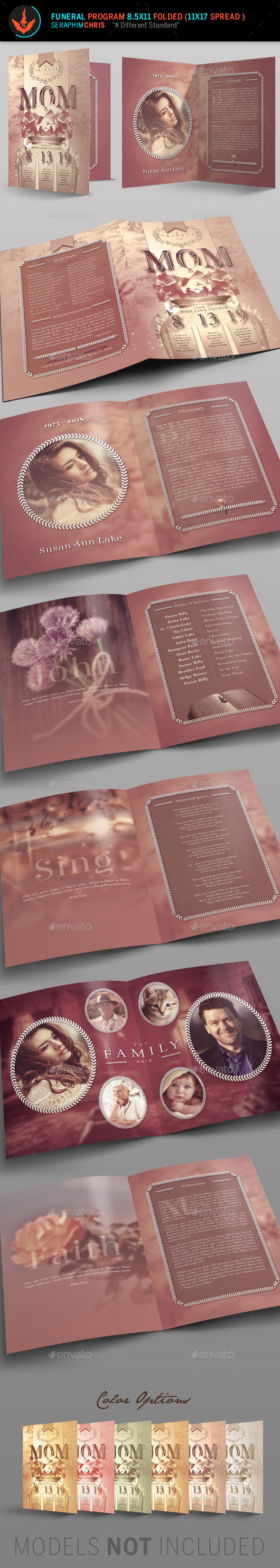 Tribute Funeral Program Template - Informational Brochures