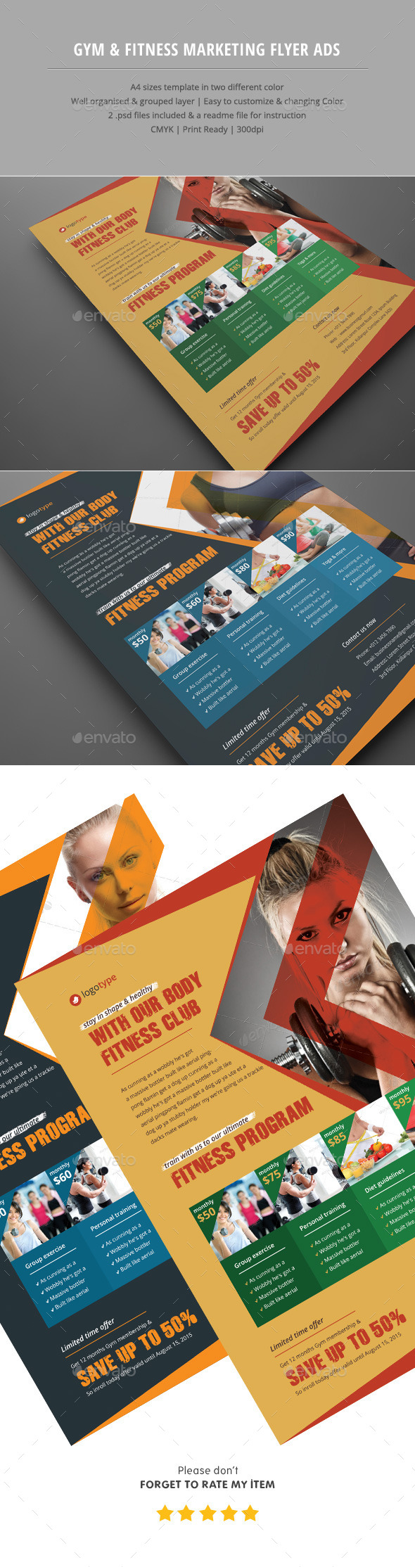Gym & Fitness Club Flyer Ads - Corporate Flyers