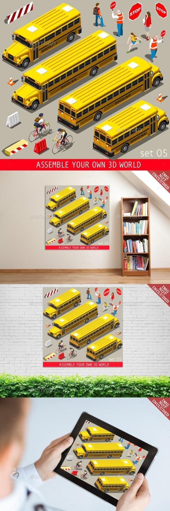 School Bus Vehicle Isometric - Objects Vectors
