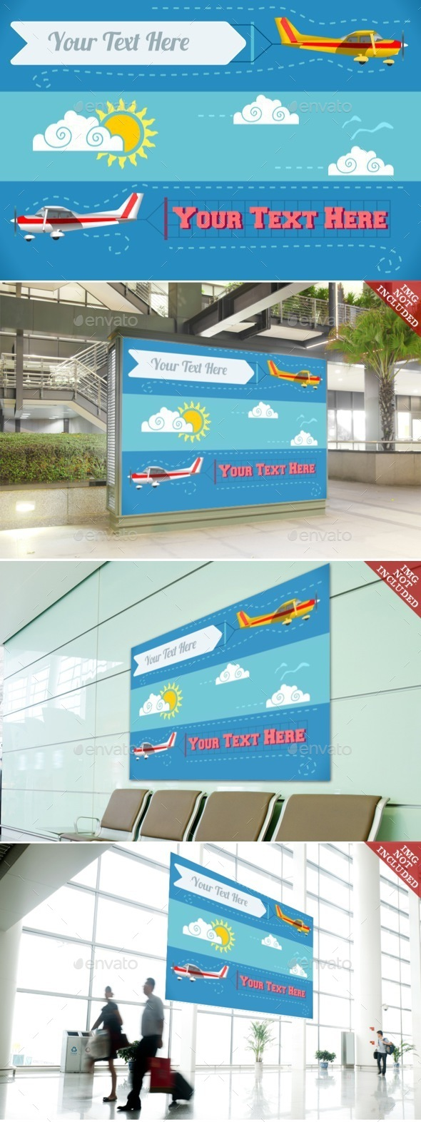 Airplane Banner Vehicle 2D - Objects Vectors
