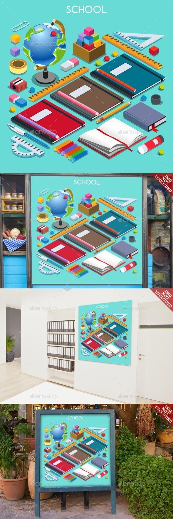 School Set 07 People Isometric - Objects Vectors