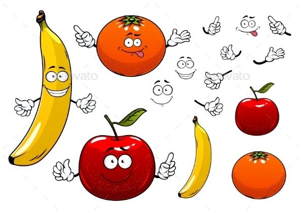 Cartoon Apple, Orange And Banana Fruits - Food Objects