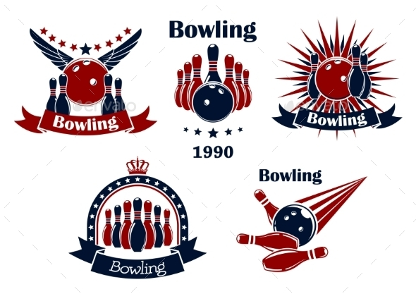Bowling Game Emblems With Strike  - Sports/Activity Conceptual