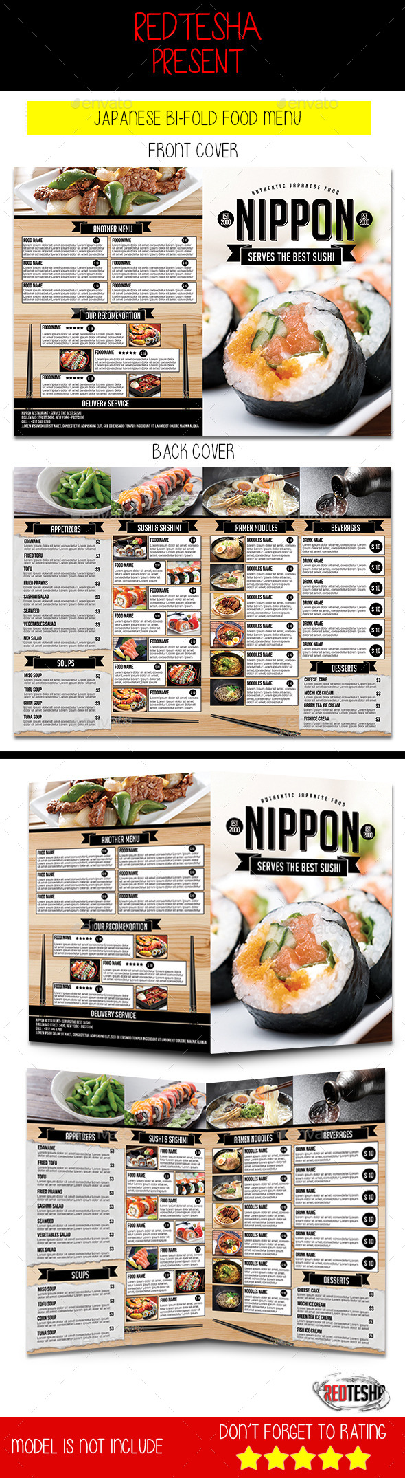 Japanese Bi-Fold Menu - Food Menus Print Templates