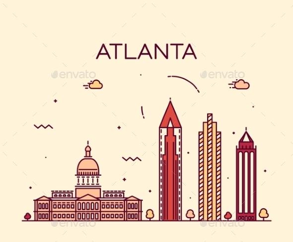 Atlanta Skyline Trendy Vector Illustration Linear - Landscapes Nature